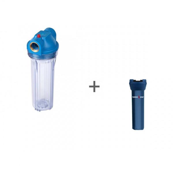 Фильтр магистральный Акватек для холодной воды, без картриджа (прозрачный корпус 10) 1/2 + Чехол TermoZont Slim 10 для корпуса картриджного фильтра