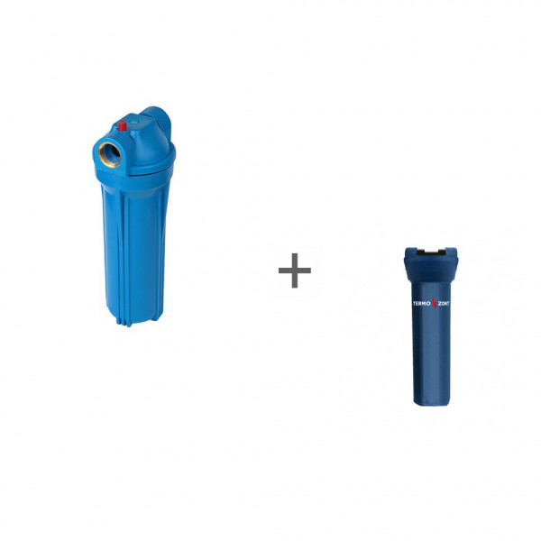 Фильтр магистральный Акватек для холодной воды, без картриджа (синий корпус 10) 1/2 + Чехол TermoZont Slim 10 для корпуса картриджного фильтра