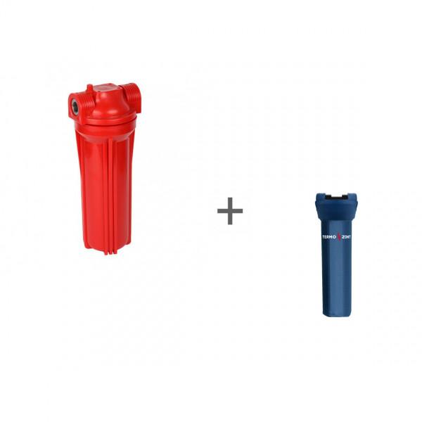 Фильтр магистральный для горячей воды (непрозрачный красный корпус 10) 1/2 без картриджа + Чехол TermoZont Slim 10 для корпуса картриджного фильтра