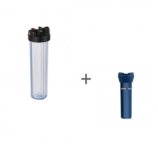 """Корпус Акватек Вig Вlue 20"""" 1прозрачный для холодной воды (кронштейн, латунные вставки) + Чехол TermoZont BB 20 для корпуса картриджного фильтра"""
