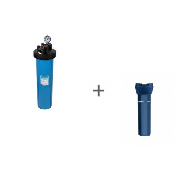 """Корпус Акватек Вig Вlue 20"""" для холодной воды (кронштейн,манометр, латунные вставки) + Чехол TermoZont BB 20 для корпуса картриджного фильтра"""