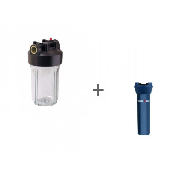"""Корпус Вig Вlue 10"""" прозрачный для холодной воды (кронштейн, латунные вставки) + Чехол TermoZont BB 10 для корпуса картриджного фильтра"""