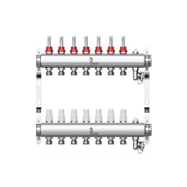 Коллектор нерж. Wester W902 1-3/4 в сборе с расходомерами на 7 выходов