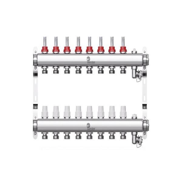 Коллектор нерж. Wester W902 1-3/4 в сборе с расходомерами на 8 выходов