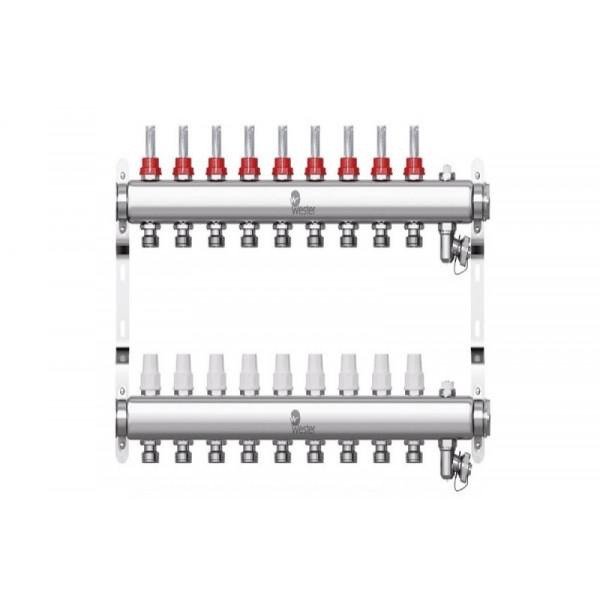 Коллектор нерж. Wester W902 1-3/4 в сборе с расходомерами на 9 выходов