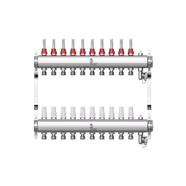 Коллектор нерж. Wester W902 1-3/4 в сборе с расходомерами на 10 выходов
