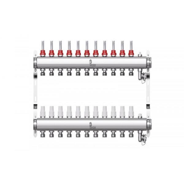 Коллектор нерж. Wester W902 1-3/4 в сборе с расходомерами на 11 выходов
