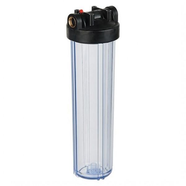 """Корпус Акватек Вig Вlue 20"""" 1прозрачный для холодной воды (кронштейн, латунные вставки)"""